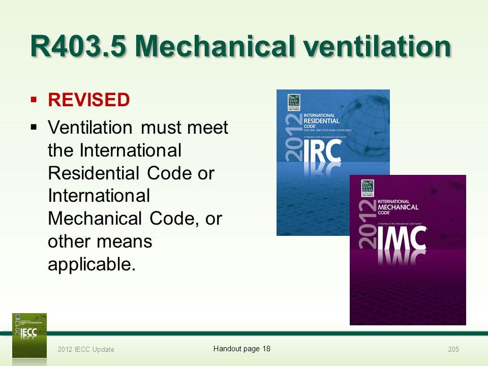 R403.5 Mechanical ventilation