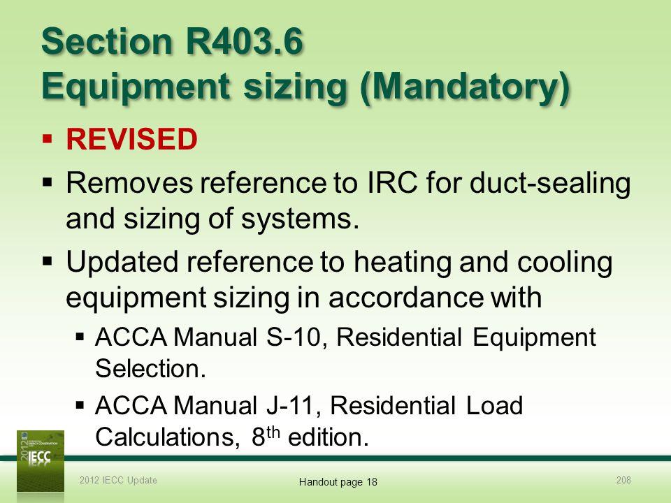 Section R403.6 Equipment sizing (Mandatory)