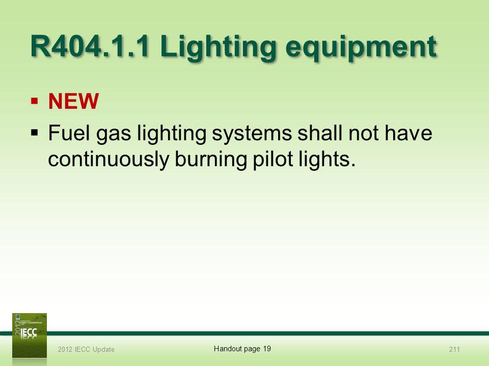 R404.1.1 Lighting equipment NEW