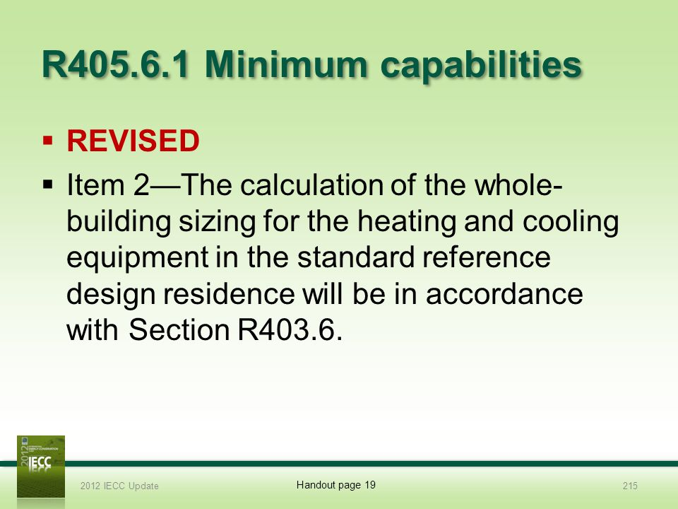 R405.6.1 Minimum capabilities