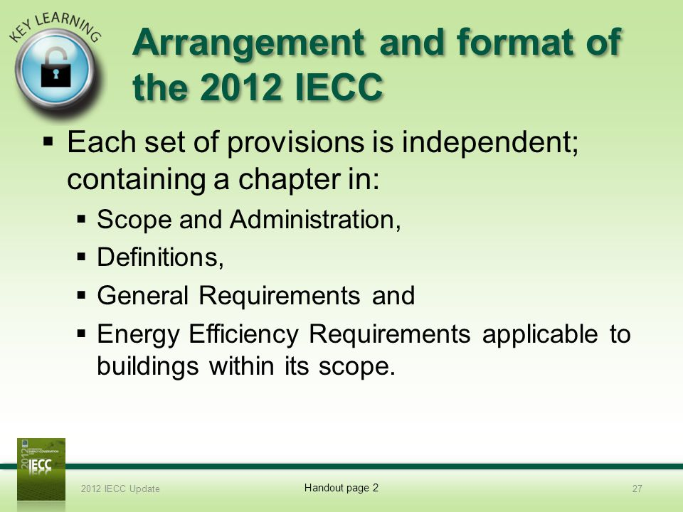 Arrangement and format of the 2012 IECC