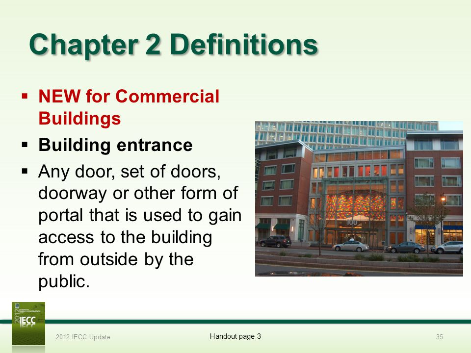 Chapter 2 Definitions NEW for Commercial Buildings Building entrance