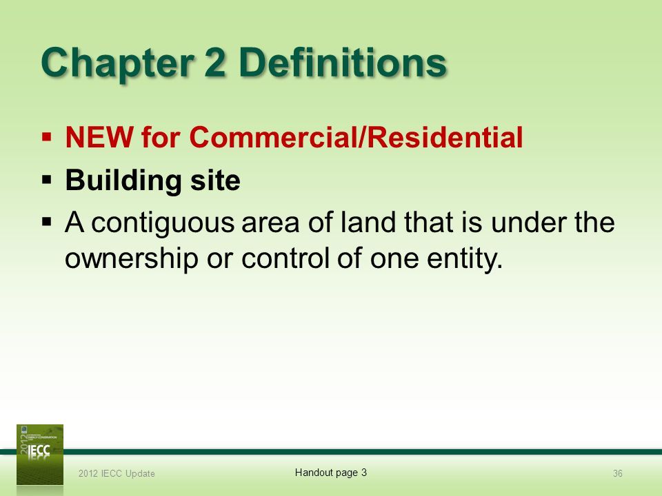 Chapter 2 Definitions NEW for Commercial/Residential Building site