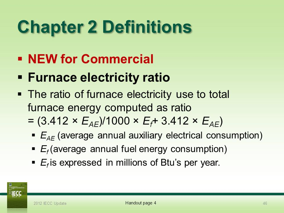 Chapter 2 Definitions NEW for Commercial Furnace electricity ratio