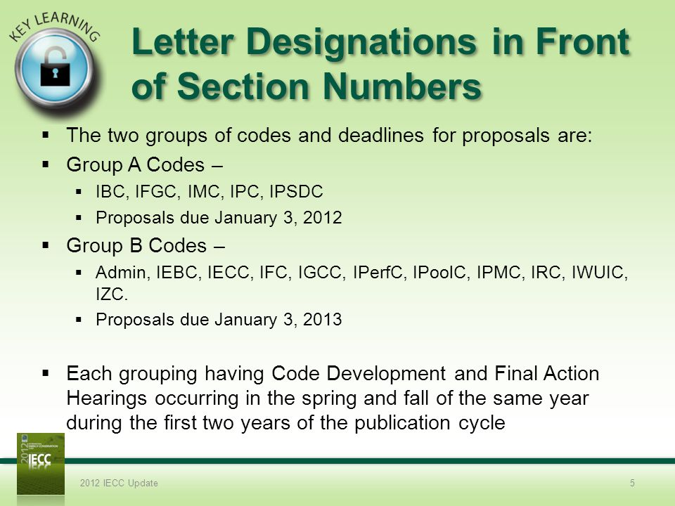 Letter Designations in Front of Section Numbers
