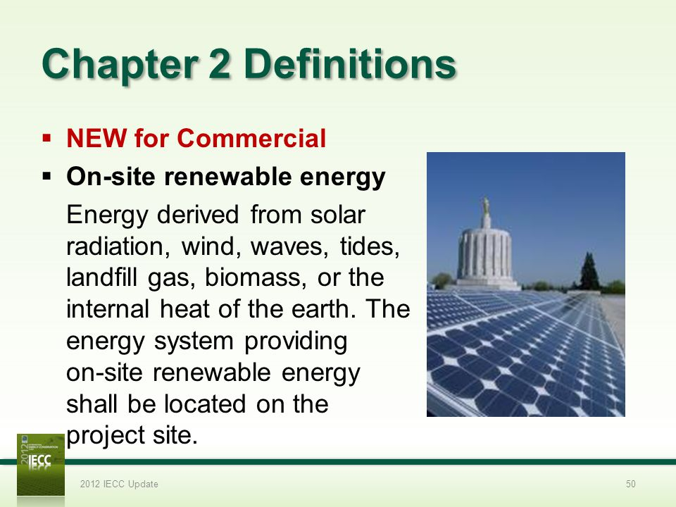 Chapter 2 Definitions NEW for Commercial On-site renewable energy