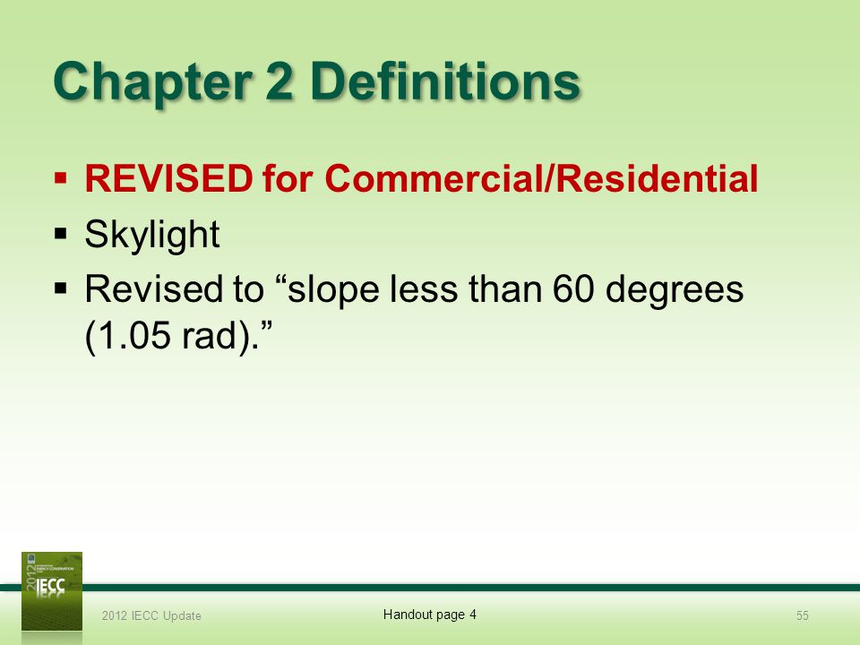 Chapter 2 Definitions REVISED for Commercial/Residential Skylight