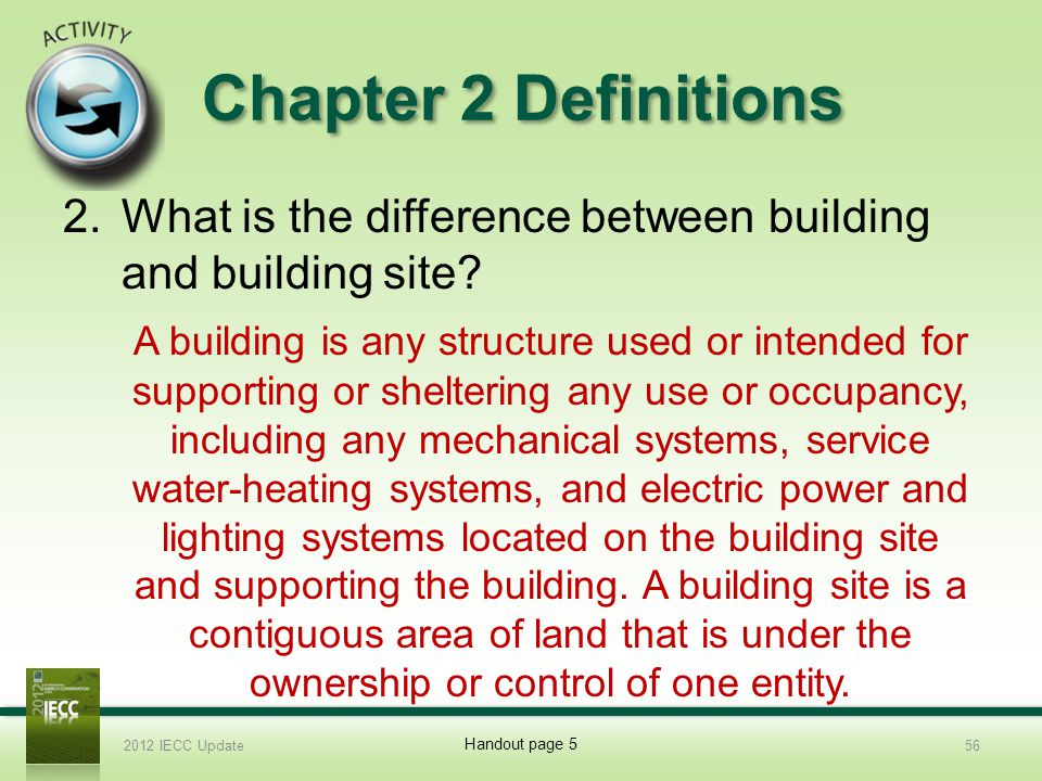 Chapter 2 Definitions What is the difference between building and building site