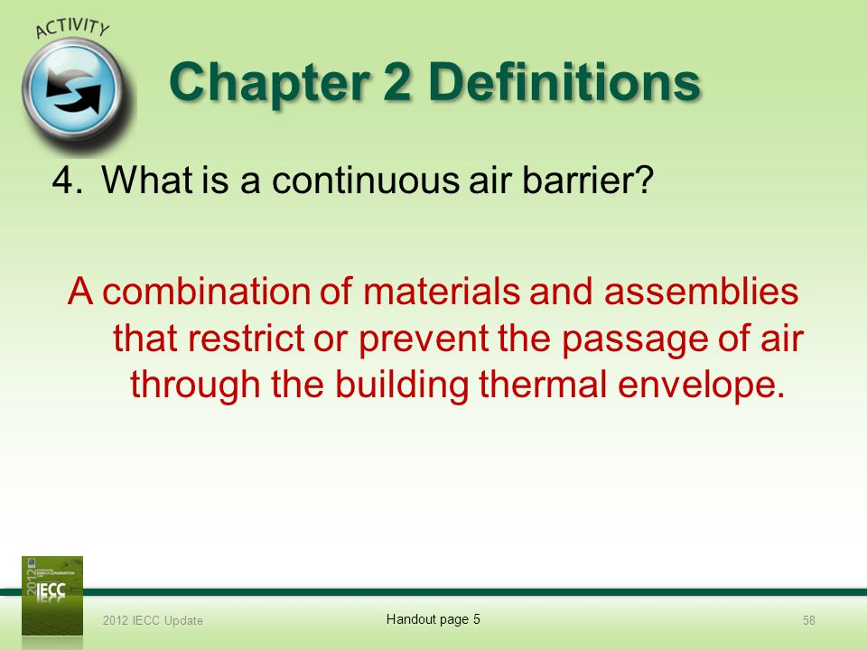 Chapter 2 Definitions What is a continuous air barrier