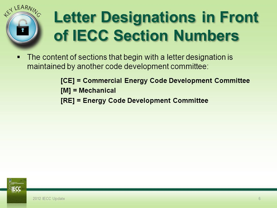 Letter Designations in Front of IECC Section Numbers