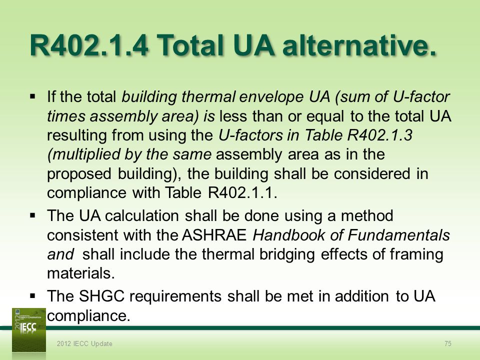 R402.1.4 Total UA alternative.