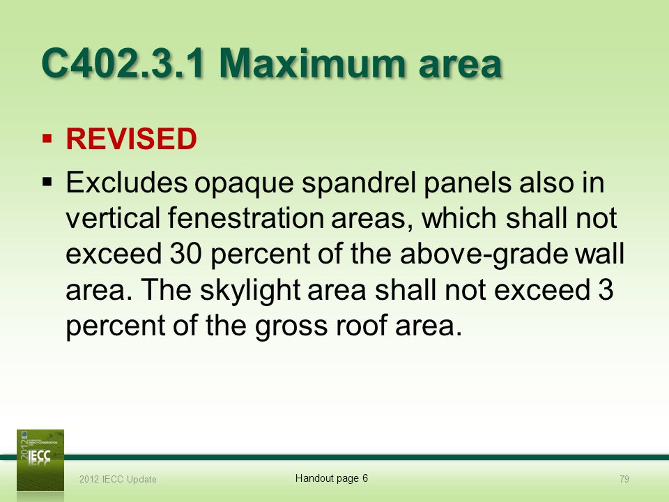 C402.3.1 Maximum area REVISED.