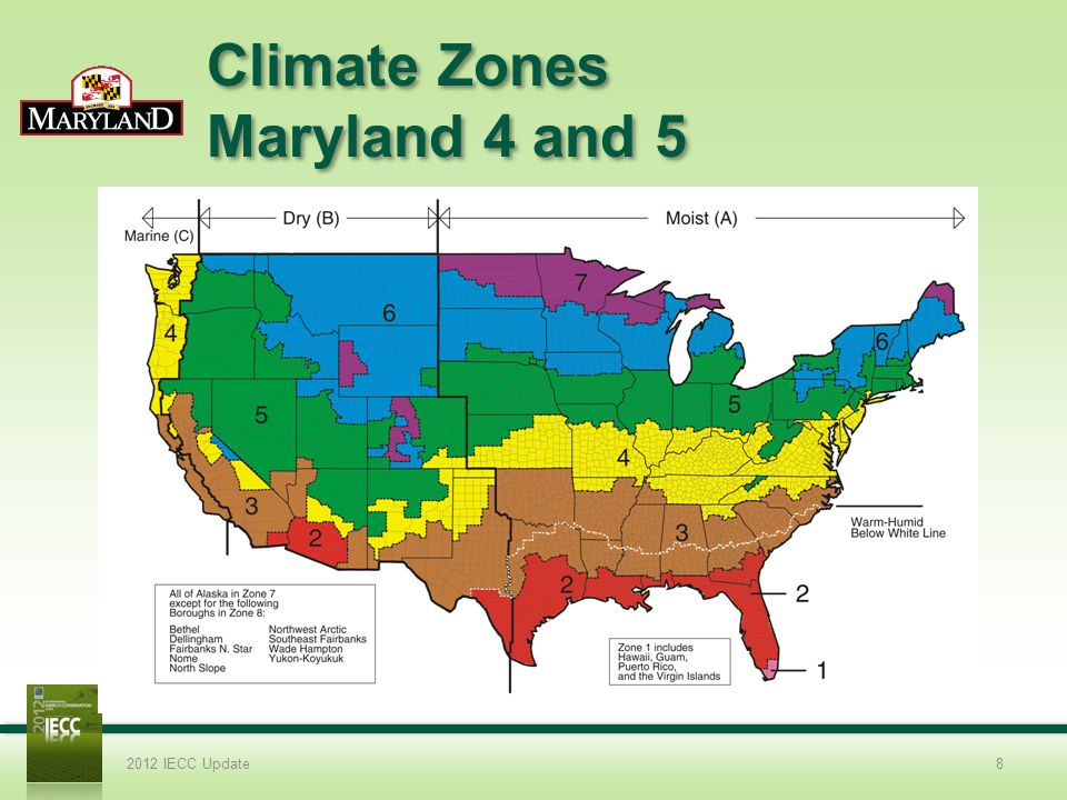 Climate Zones Maryland 4 and 5