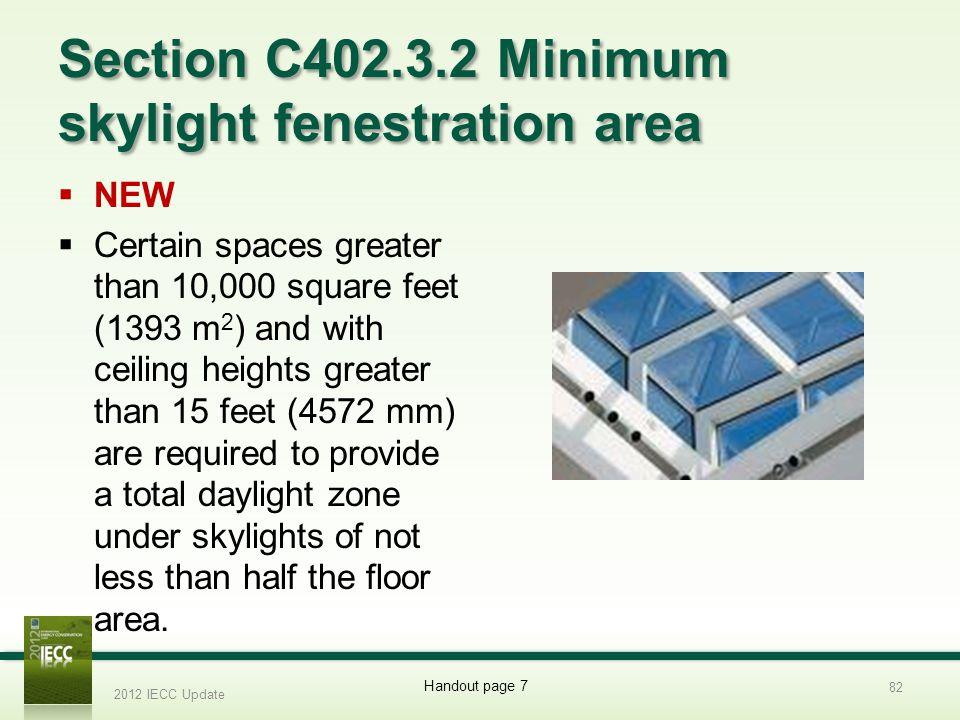 Section C402.3.2 Minimum skylight fenestration area