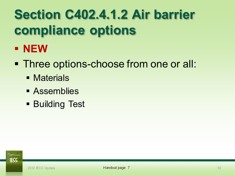 Section C402.4.1.2 Air barrier compliance options
