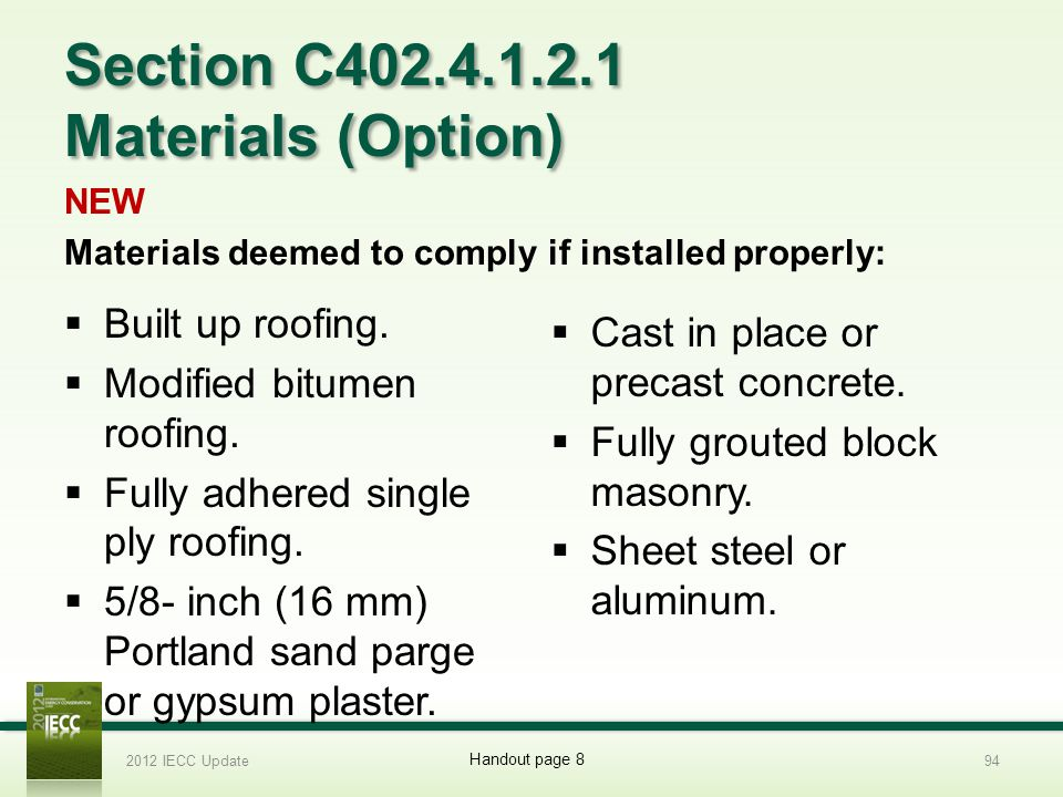 Section C402.4.1.2.1 Materials (Option)