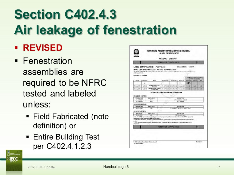 Section C402.4.3 Air leakage of fenestration