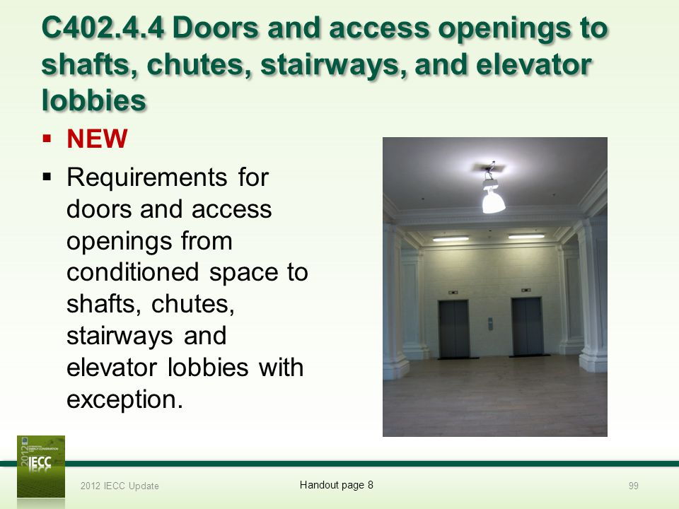 C402.4.4 Doors and access openings to shafts, chutes, stairways, and elevator lobbies