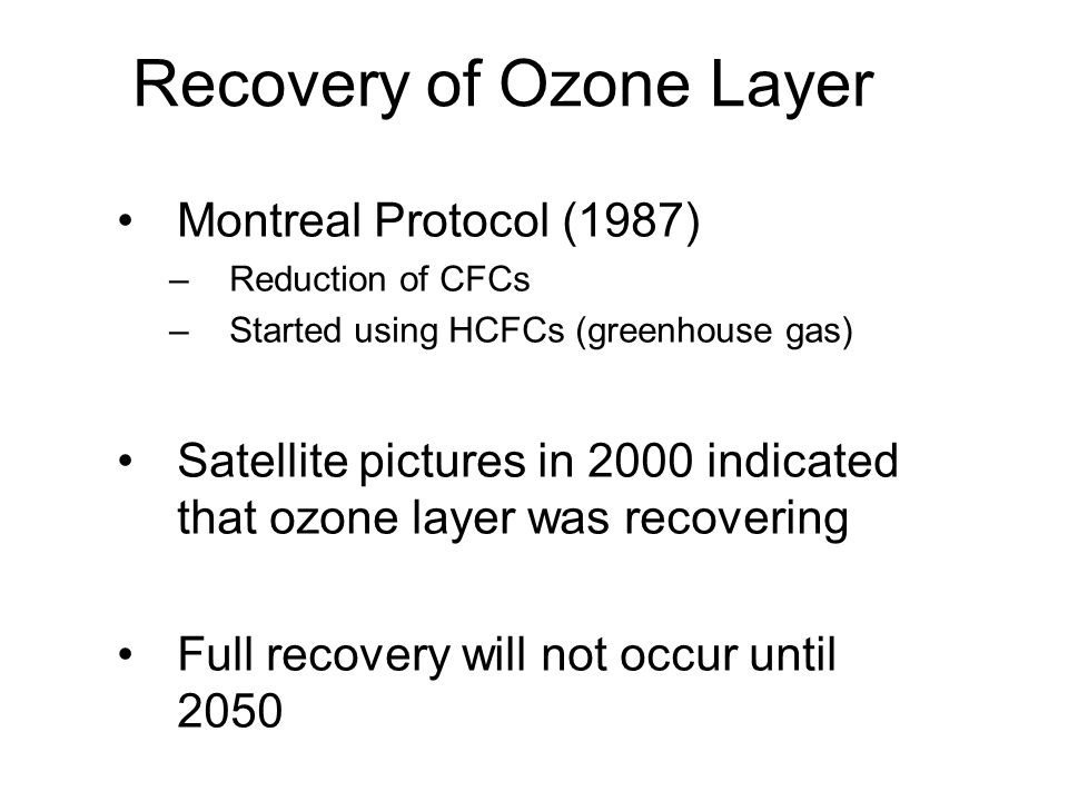 Recovery of Ozone Layer