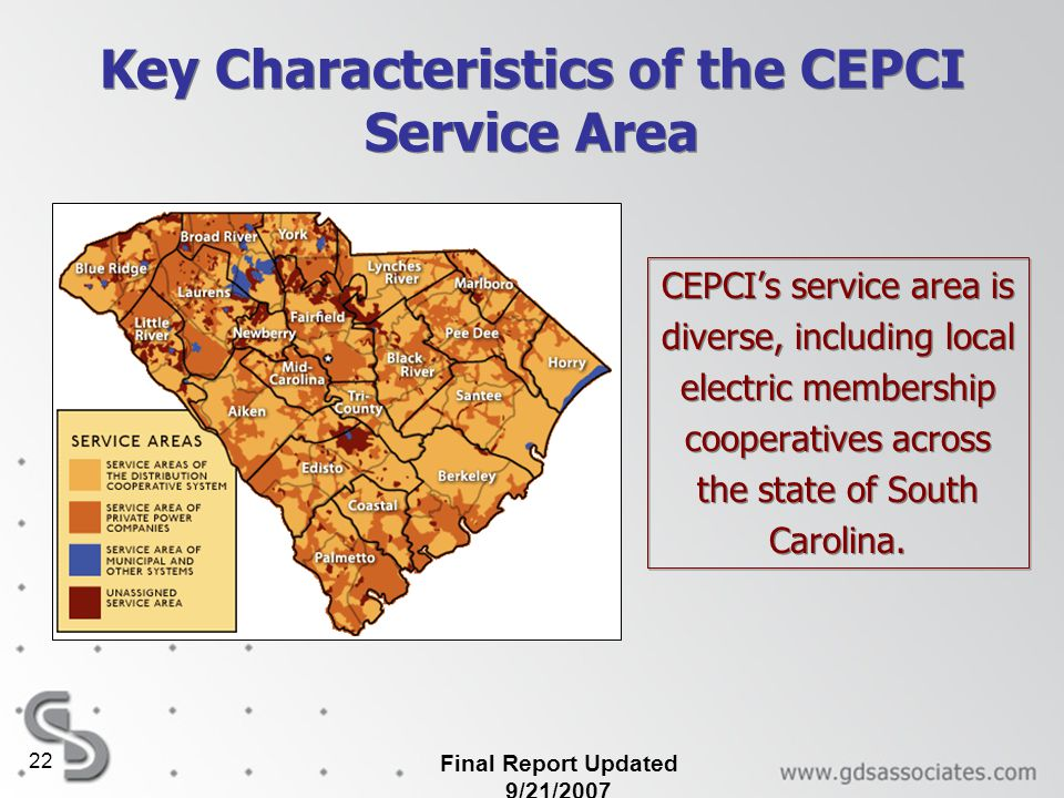 Key Characteristics of the CEPCI Service Area