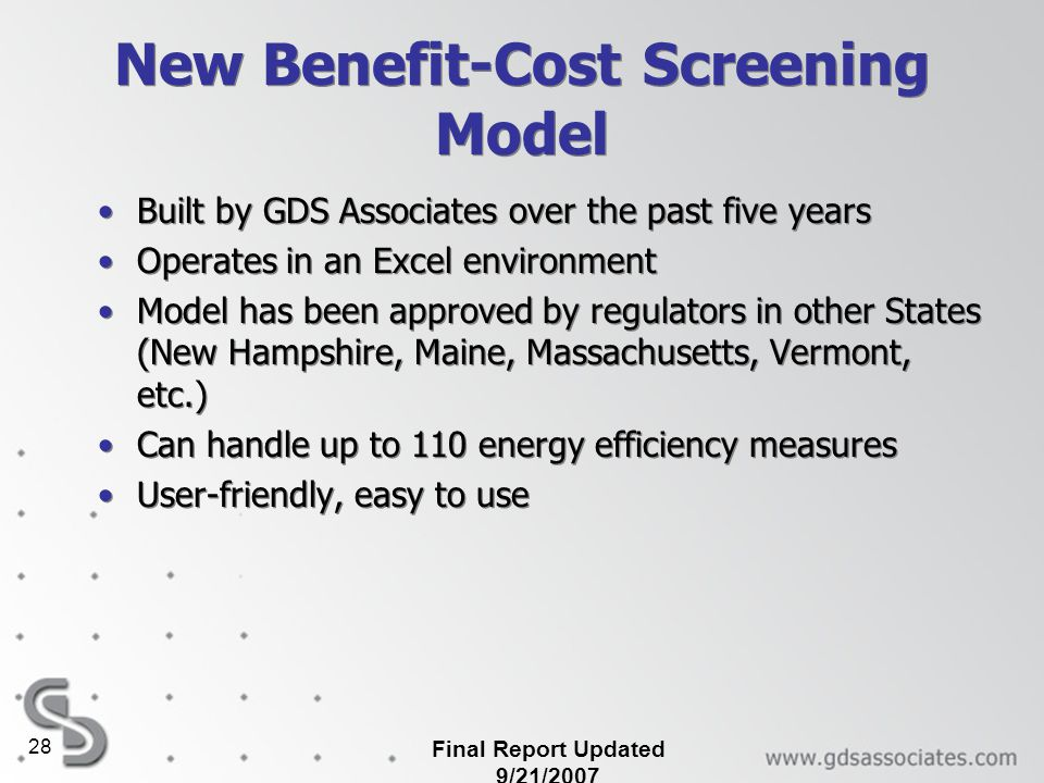 New Benefit-Cost Screening Model