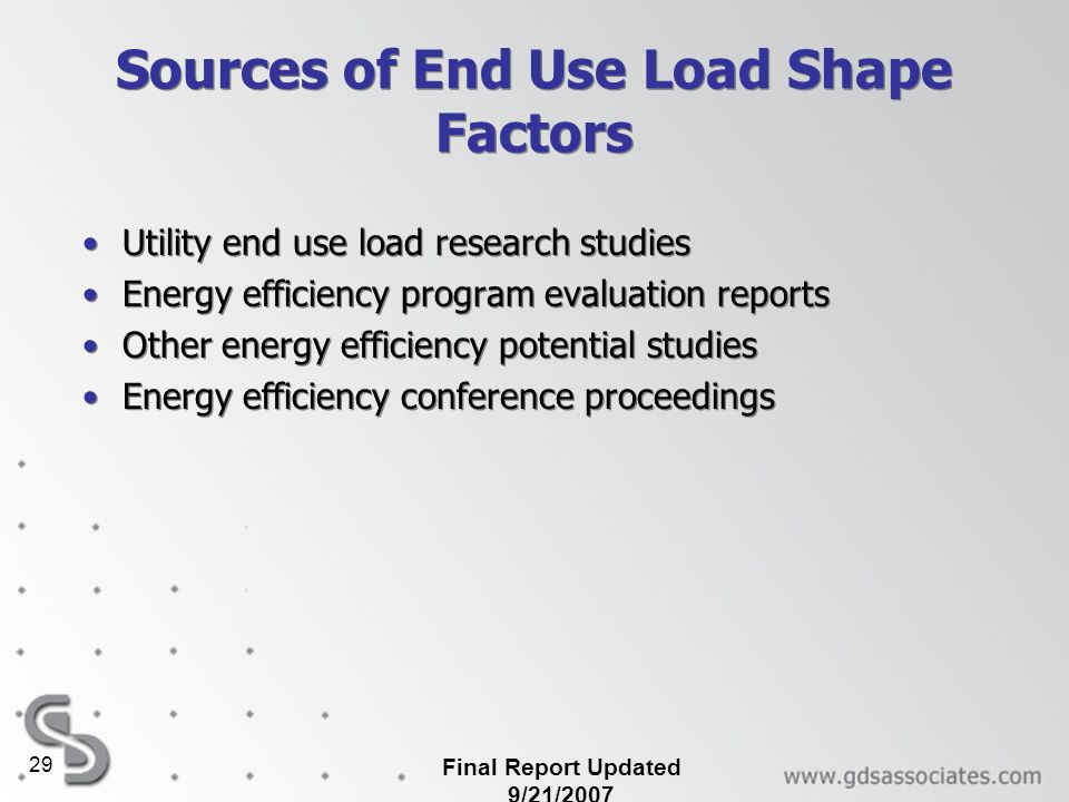 Sources of End Use Load Shape Factors