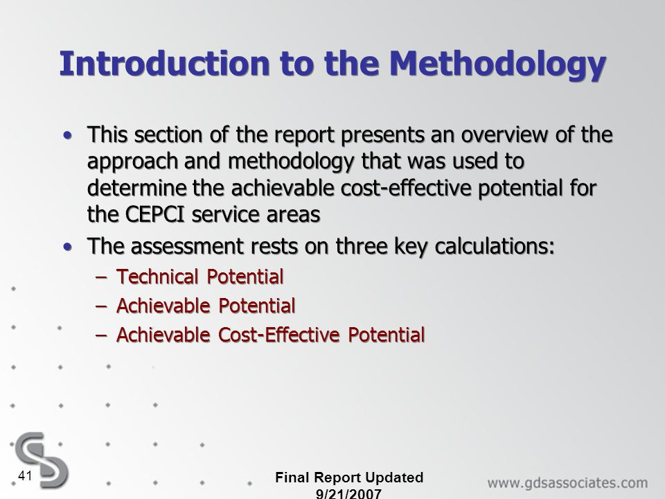 Introduction to the Methodology