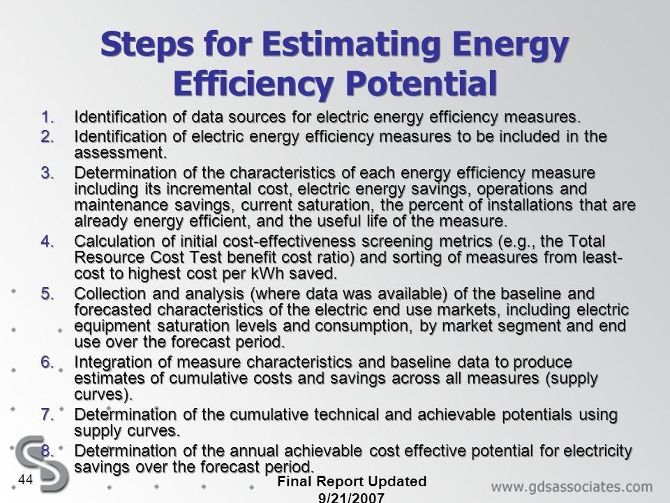 Steps for Estimating Energy Efficiency Potential