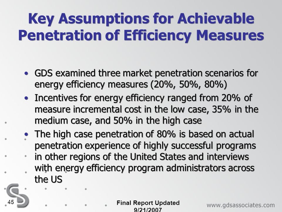 Key Assumptions for Achievable Penetration of Efficiency Measures