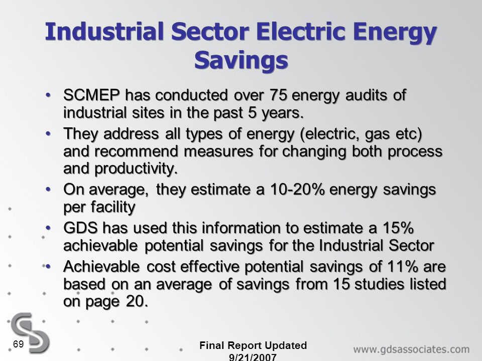 Industrial Sector Electric Energy Savings