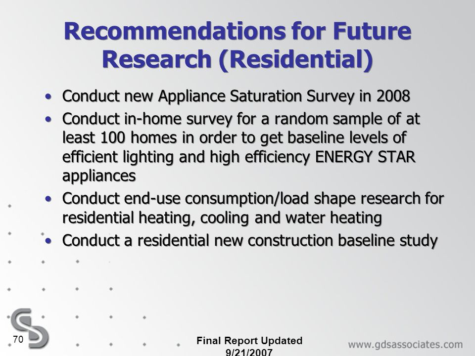 Recommendations for Future Research (Residential)