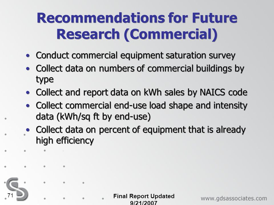Recommendations for Future Research (Commercial)