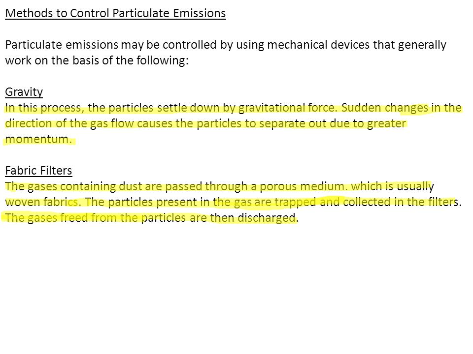 Methods to Control Particulate Emissions