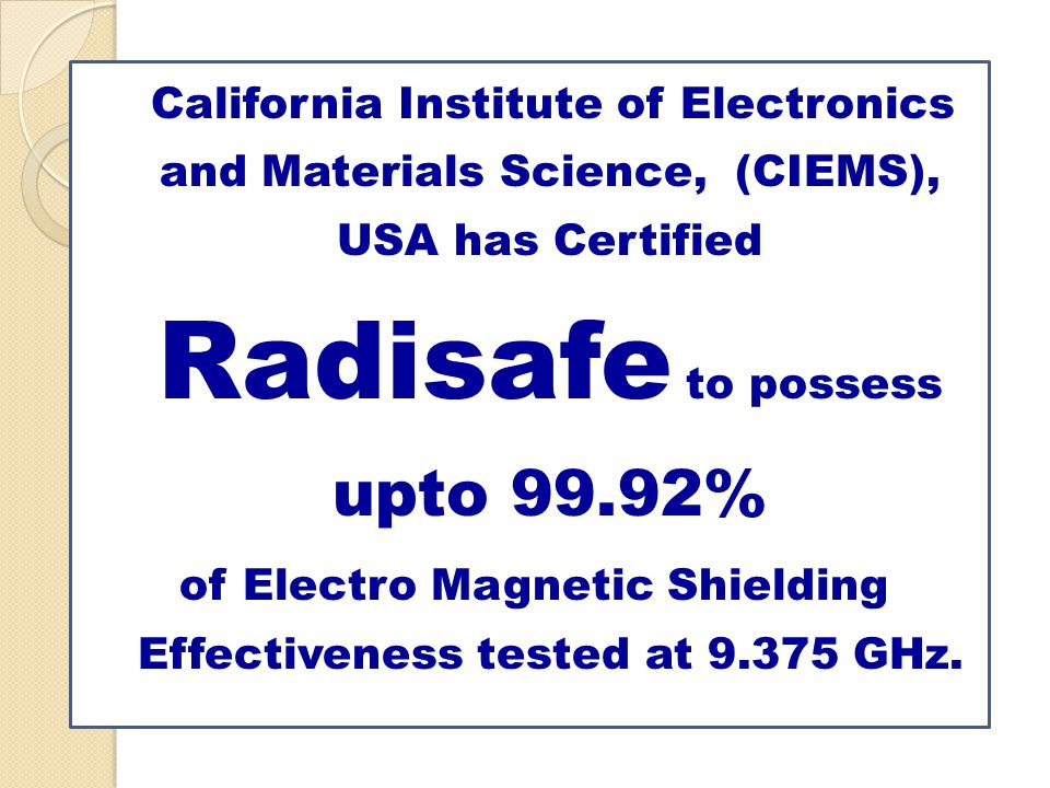 of Electro Magnetic Shielding Effectiveness tested at 9.375 GHz.