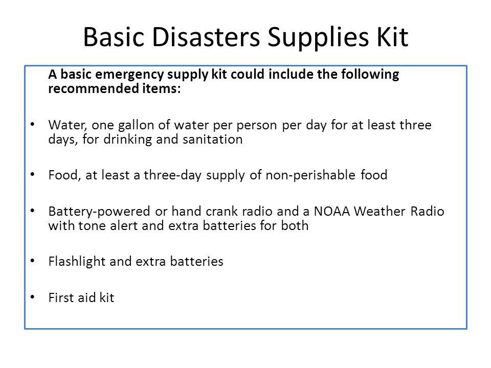 Basic Disasters Supplies Kit