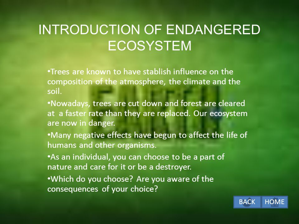 INTRODUCTION OF ENDANGERED ECOSYSTEM