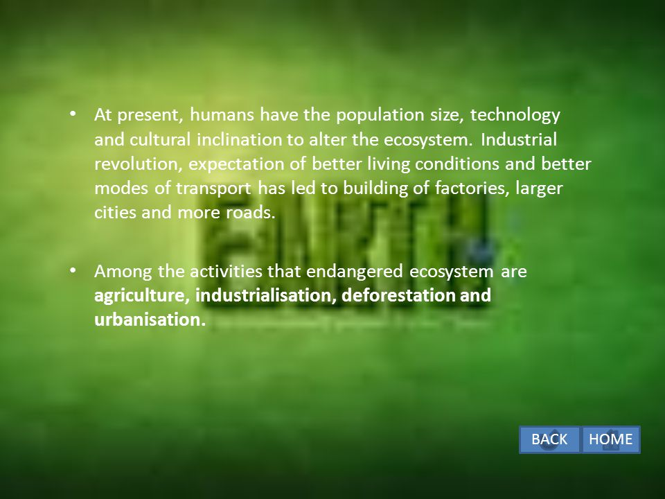 At present, humans have the population size, technology and cultural inclination to alter the ecosystem. Industrial revolution, expectation of better living conditions and better modes of transport has led to building of factories, larger cities and more roads.