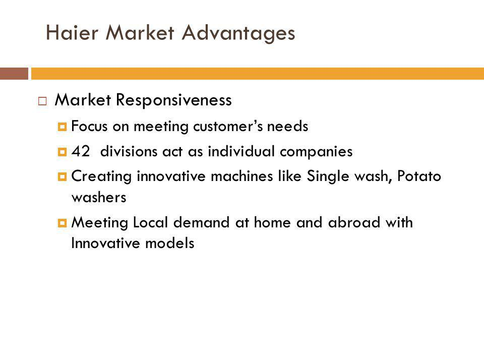 Haier Market Advantages