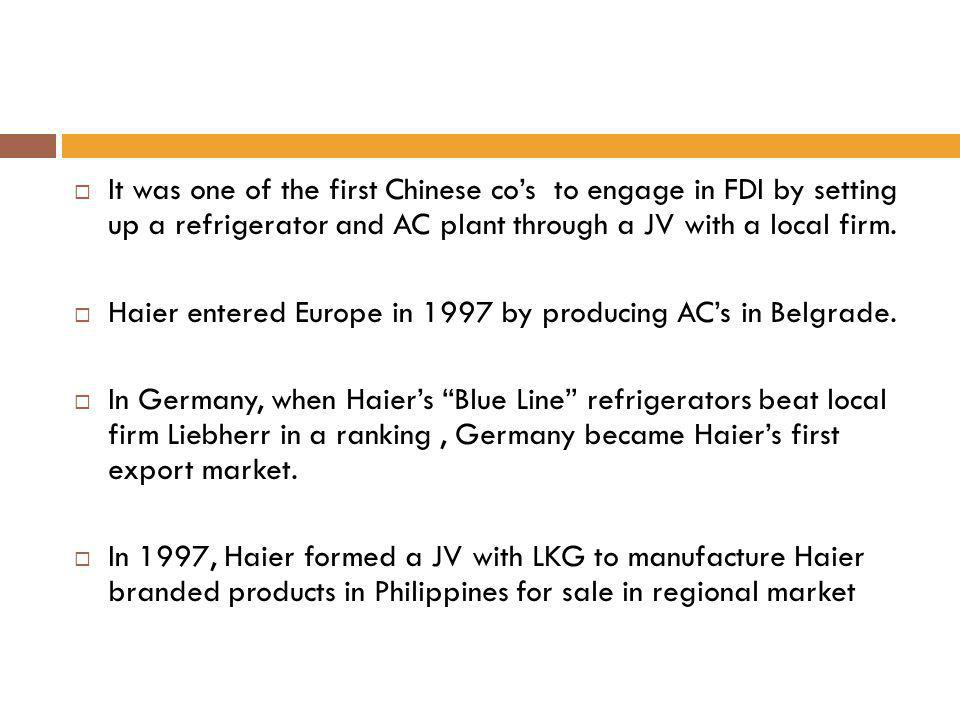 Haier entered Europe in 1997 by producing AC's in Belgrade.