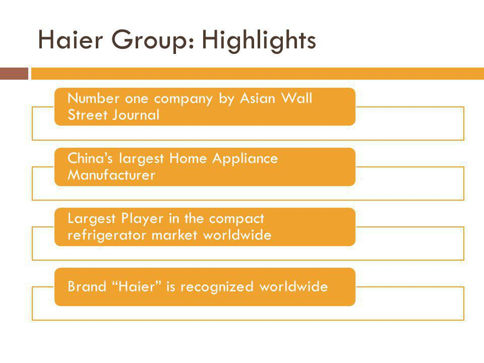 Haier Group: Highlights