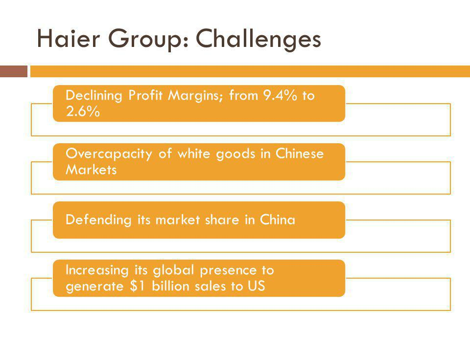 Haier Group: Challenges