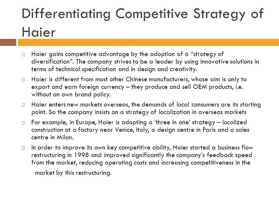 Differentiating Competitive Strategy of Haier