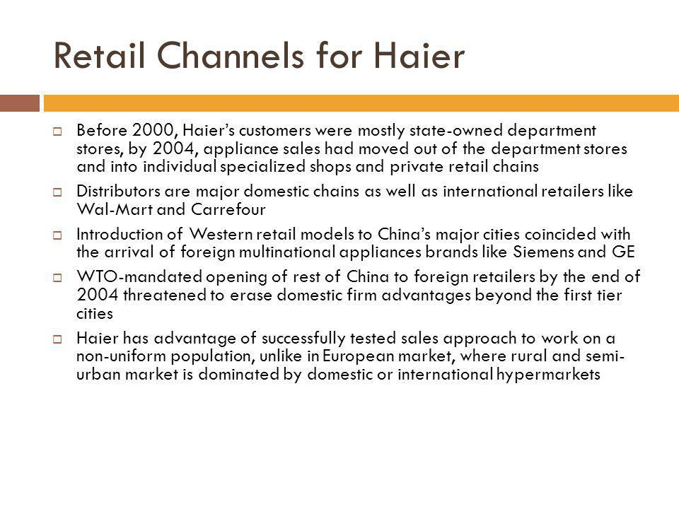 Retail Channels for Haier