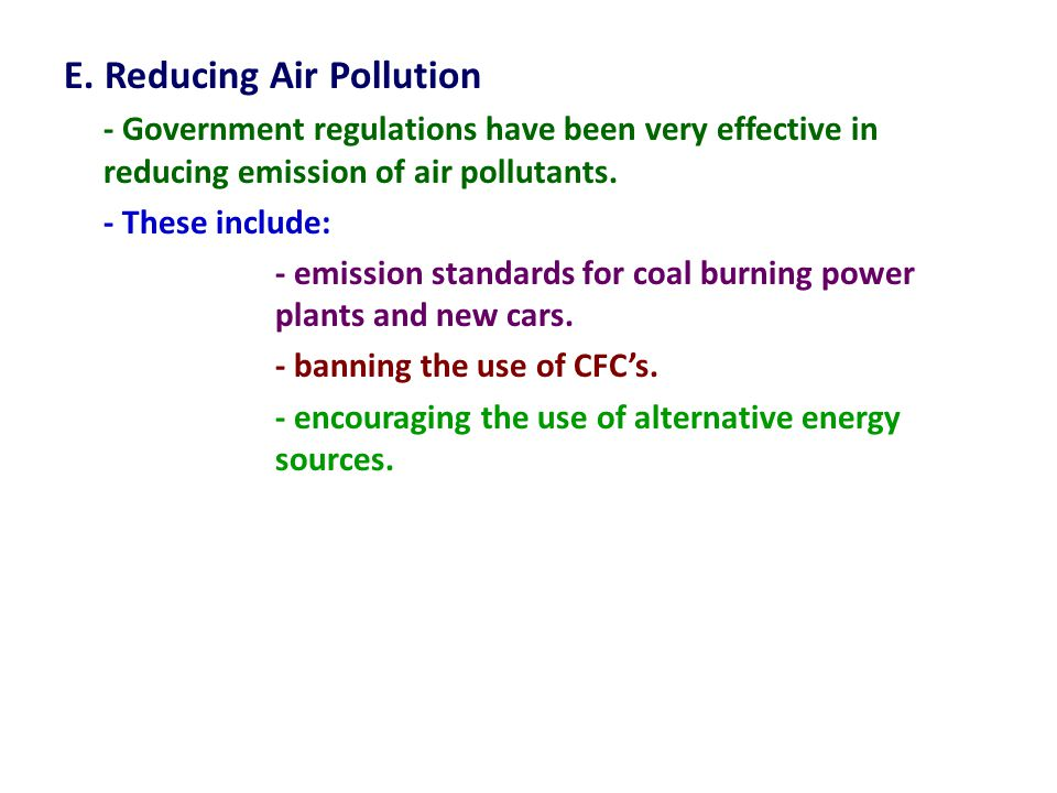 E. Reducing Air Pollution