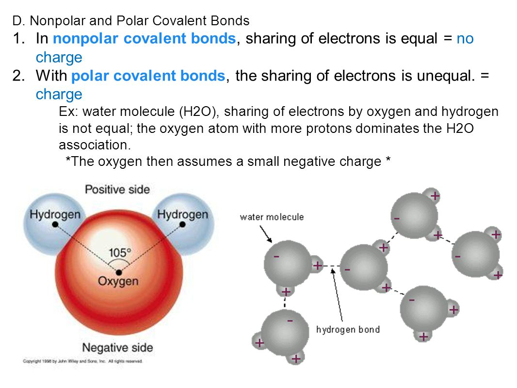In nonpolar covalent bonds, sharing of electrons is equal = no charge
