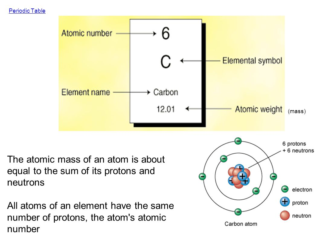 Periodic Table (mass) The atomic mass of an atom is about equal to the sum of its protons and neutrons.