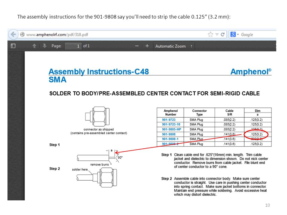The assembly instructions for the 901-9808 say you'll need to strip the cable 0.125 (3.2 mm):