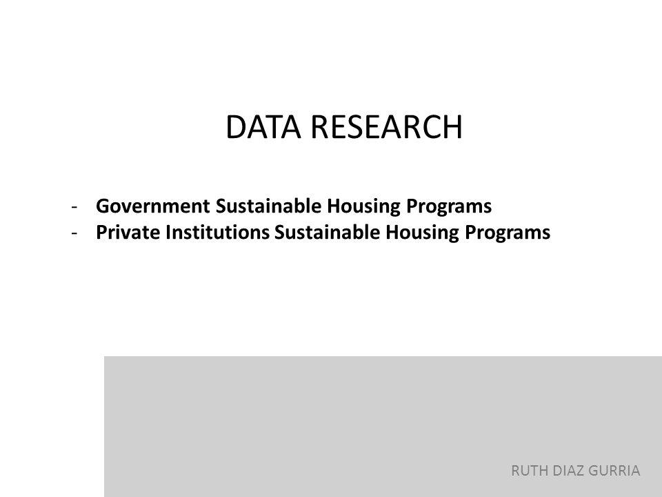 DATA RESEARCH Government Sustainable Housing Programs