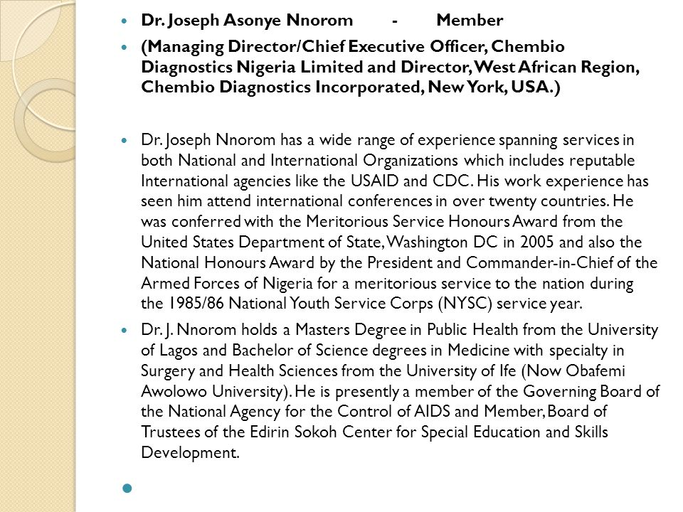 Dr. Joseph Asonye Nnorom - Member