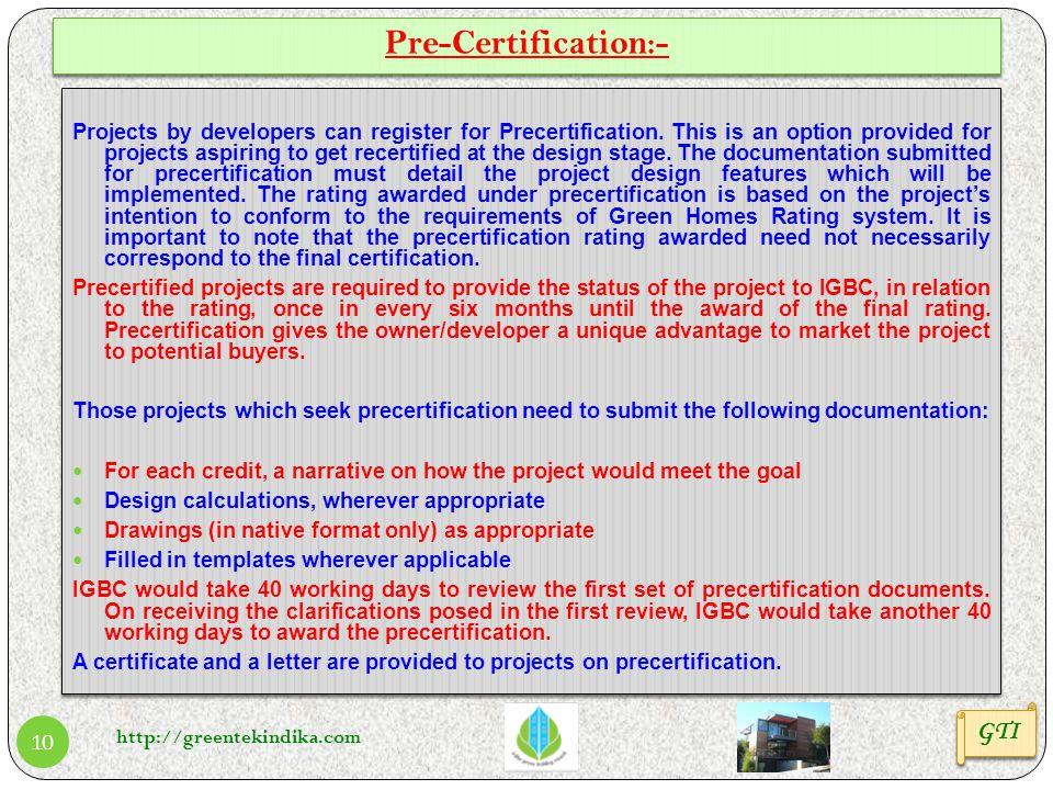 Pre-Certification:- GTI